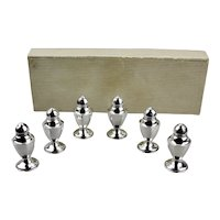 Sterling Silver Individual Salt And Pepper Shakers 3 Pair 6 Piece Set American Manufacturer Fitted Box