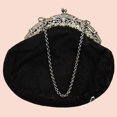 Evening Purse Black Sueded Leather Bag 800 Silver Frame and Chain