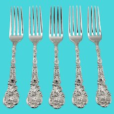 Dinner Forks Versailles Pattern Set Of Five Sterling Silver Gorham Manufacturing c.1888