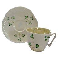 Belleek Ireland Shell Cup Saucer Shamrocks Third Green Mark 1970's