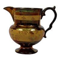 Copper Luster Pitcher Jug English Victorian Gold Band Design