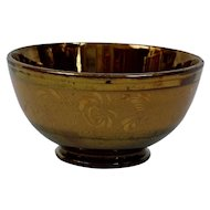 Copper Luster Bowl English Victorian Gold Band Design