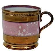 Copper Luster Handled Cup Pink Splatter Banded Details English Victorian