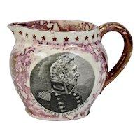 Pink Splatter Luster Pitcher Commodore Bainbridge Portrait Old Castle Pottery England