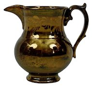 Copper Luster Pitcher Jug English Victorian Gold Band Design