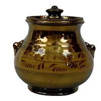 Copper Luster Covered Sugar Bowl English Victorian Gold Band Design
