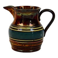 Copper Luster Pitcher Jug Green Yellow Banded Details English Victorian