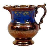 Copper Luster Pitcher Jug Blue Details English Victorian