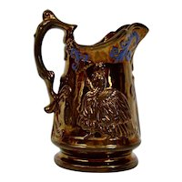 Copper Luster Pitcher Jug Lady Parasol English Victorian