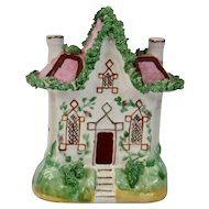 Staffordshire Pottery Cottage House Trellis Vine Pink Roof
