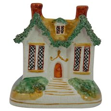 Staffordshire Pottery House Bank Money Box Flat Back