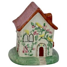 Staffordshire Pottery Cottage House Pink Floral Vine Yellow Birds