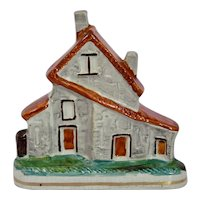 Staffordshire Pottery Flat Back Cottage House Deep Orange Roof