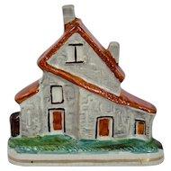 Staffordshire Pottery Flat Back Cottage House Deep Orange Roof