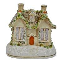 Staffordshire Pottery Cottage House Trellis Vine Thatch Roof