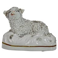 English Staffordshire Pottery Figure Of A Resting Lamb Victorian