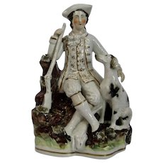 Staffordshire Pottery Figure Gentleman with Dog and Riffle