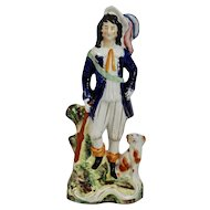 Staffordshire Pottery Figure Gentleman Feathered Hat with Dog and Riffle