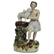 English Staffordshire Pottery Figure Shepard Lamb
