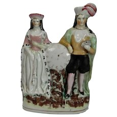 English Staffordshire Pottery Figure Couple With Clock Face Victorian