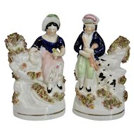 English Staffordshire Pottery Figures Couple with Dog and Lamb Victorian