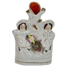 Staffordshire Pottery Flat Back Spill Vase Children Bird Nest