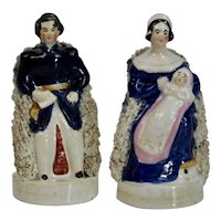 Queen Victoria Prince Albert Staffordshire Pottery Figures Pair