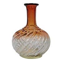 Baccarat Amberina Rose Tint Bambous Tors Glass Carafe c.1920's