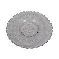 Coronation Memorabilia King George VI Flint Glass Deep Plate Bowl May 12 1937