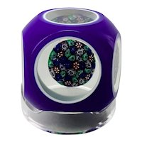 Murano Glass Paperweight Concentric Millefiori Cushion Center Double Cased Overlay Cut Back