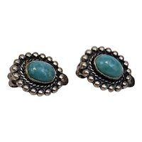 Turquoise Clip On Earrings Oval Beaded Detailed Sterling Silver Settings