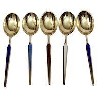 Demitasse Spoons Vermeil Sterling Silver Enamel Meka Denmark Set Of Five