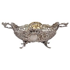German 800 Silver Reticulated Repousse Dish Or Basket Ornate Panels 19th Century