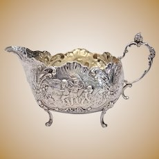 German 800 Silver Creamer Sauce Boat Ornate Children Harvest Panels Repousse 19th Century