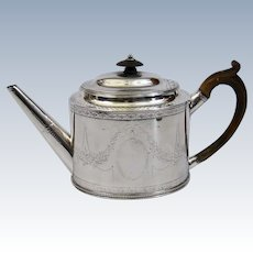 Hester Bateman Sterling Silver Engraved Teapot London, England c.1786