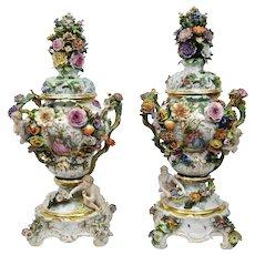 Monumental Meissen Porcelain Potpourri Vases Pair c.1860 Rococo Revival Style