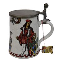 German Beer Stein Pewter Lid Vibrant And Colorful Crackle Finish