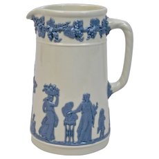 Wedgwood Embossed Queens Ware Pitcher Blue On White