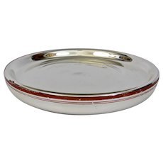 Antique Mercury Glass Platter Tray Red Banded Border