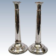 Sheffield Silver Plated Trumpet Style Candlesticks Pair c.1880 England