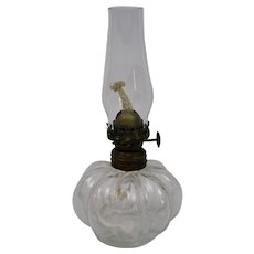 Glass Oil Lamp Miniature Opalescent Finish With Chimney And Original Wick Mantel