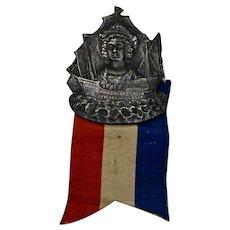 World's Fair Columbian Exposition 1892 Badge Pin Ribbon Chicago