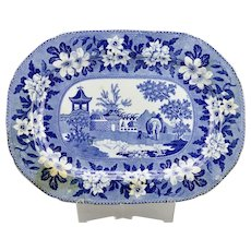 Blue And White Large Staffordshire Earthenware Platter Elephant Pattern c.1840's English