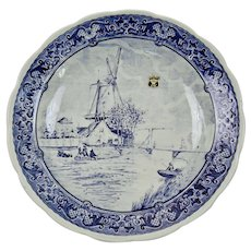 Delft Blue Charger Transfer Ware Windmill Scene Boch Royal Sphinx