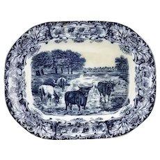 Deep Blue Transfer Ware Cow Cattle Oxen Motif Platter Earthenware Pottery England