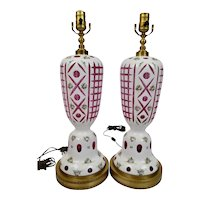 Bohemian Cased Glass Table Lamps White Cut Back to Cranberry