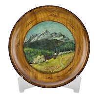 German Wood Wall Plate Hand Painted Mountain Landscape With Tool Burned Details