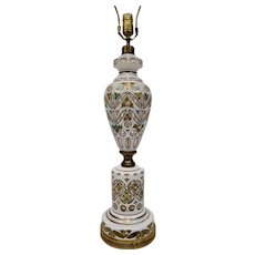 Bohemian Cased Glass Table Lamp White Cut Back to Clear