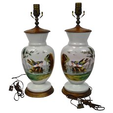 Opaline Bristol Glass Table Lamps Pair Hand Enameled Birds Waterfall