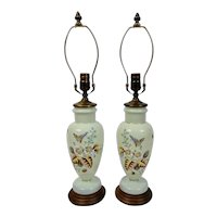 Opaline Bristol Glass Table Lamps Pair Hand Enameled Floral Butterfly Motif